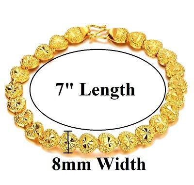 24k Yellow Gold Linked Hearts Chain Bracelet Women's Small 7