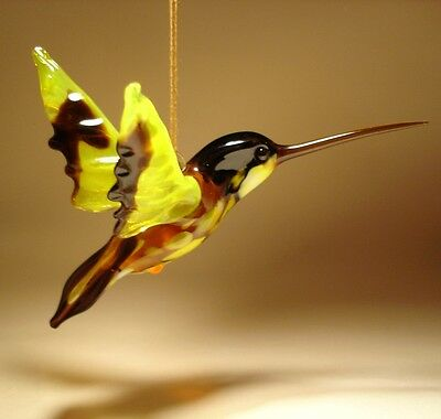 Blown Glass Figurine Bird Hanging Yellow and Black HUMMINGBIRD Ornament