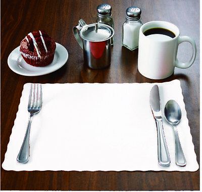 "100 Raise® White Paper Placemats, Scalloped Edge, 10""x14"" place mats, Disposable"