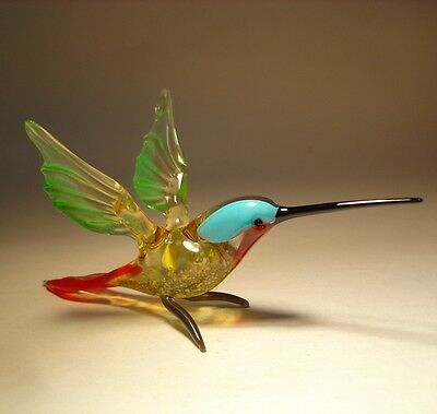 "Blown Glass Figurine ""Murano"" Art Green & Blue HUMMINGBIRD Bird with Red Throat"