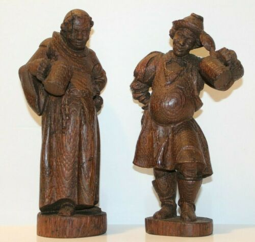 Vintage Hand Carved Bavarian Folk Art Wood Figures by Henry Roth of Germany