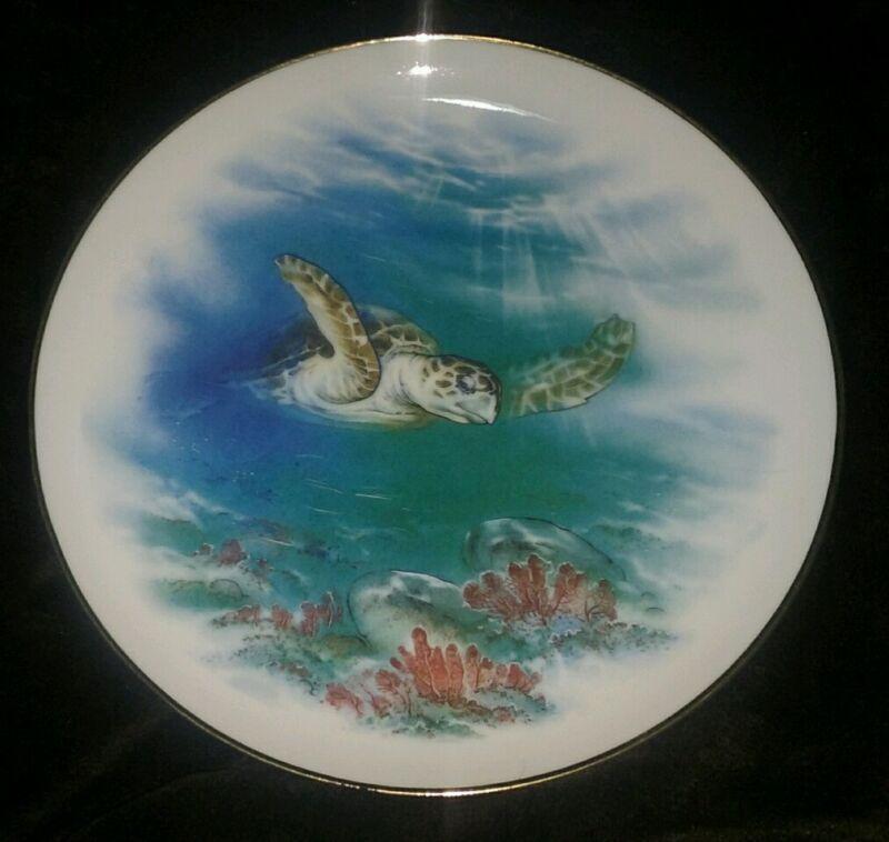 Endangered seaworld vintage Collectors plate tortoise doll art porcelain decor