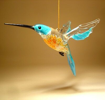 Blown Glass Figurine Bird Hanging Blue and Orange HUMMINGBIRD Ornament