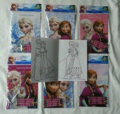 12 Frozen Elsa & Anna Coloring Books & 24 Crayon Children Party Gift Bag Filler ()