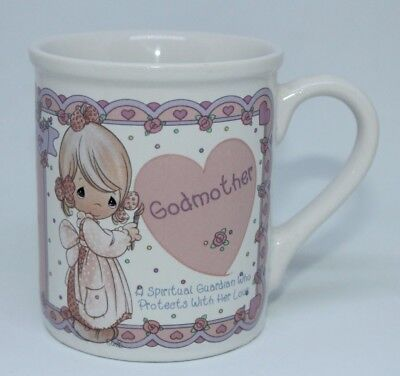 "1994 PRECIOUS MOMENTS "" Godmother "" ENESCO PERSONALIZED COFFEE MUG VINTAGE RARE"