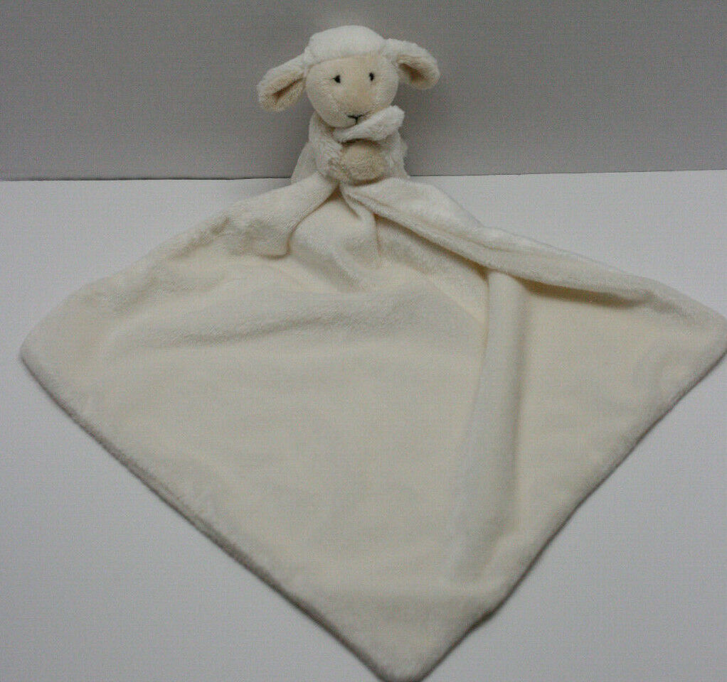 Little Jellycat Cream Bashful Lamb Soother Security Blanket Lovey Baby Toy EUC