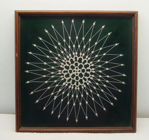 """Framed Elegant Tatted  Cream Lace Crochet Snowflake Pattern Doily 10"""" by 10"""""""