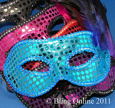 FEATHER AND SEQUIN MASQUERADE FANCY DRESS PARTY BALL FACE MASK CARNIVAL NEW YEAR