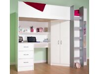 High Sleeper Bed - with built in wardrobe, desk and shelves.