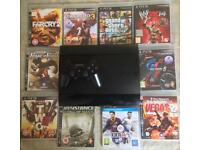 SONY PLAYSTATION SUPERSLIM 500GB PS3 CONSOLE GAMES BUNDLE GTA 5 FIFA GT5 FAR CRY UNCHARTED WWE