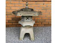 Vintage Japanese style garden Snow Lantern ornament (Yukimi) koi