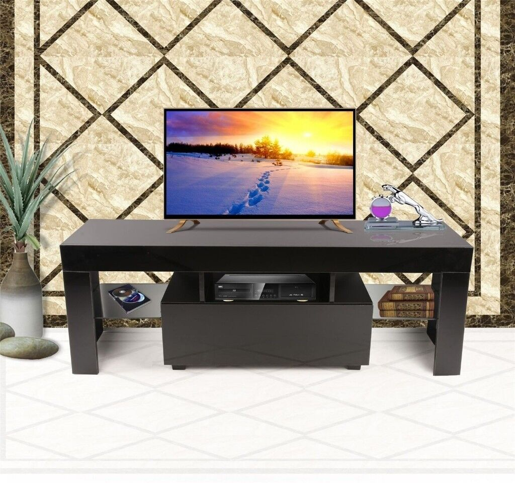 Modern Tv Cabinet White 130cm Stand Unit Furniture High Gloss