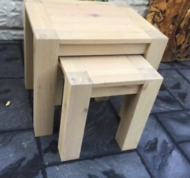 Light Oak Set Of Two Tables, New / Boxed