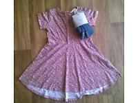 NEW Next Flowery Dress With Footless Tights. 2-3yrs.