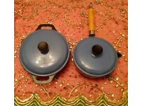 Cast Iron Saucepan & Casserole Dish with Lids:Powder Blue: Heavy Weight Kitchen/Cookware/Pots & Pans