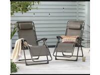 ✅Set of 2 Bronze Zero Gravity Reclining Sun Lounger Helsinki Chairs ✅