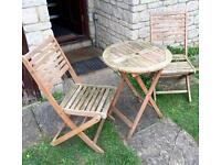 Foldable wooden bistro table and 2 chairs