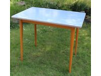 Formica baby blue kitchen table, 1960s, great condition.