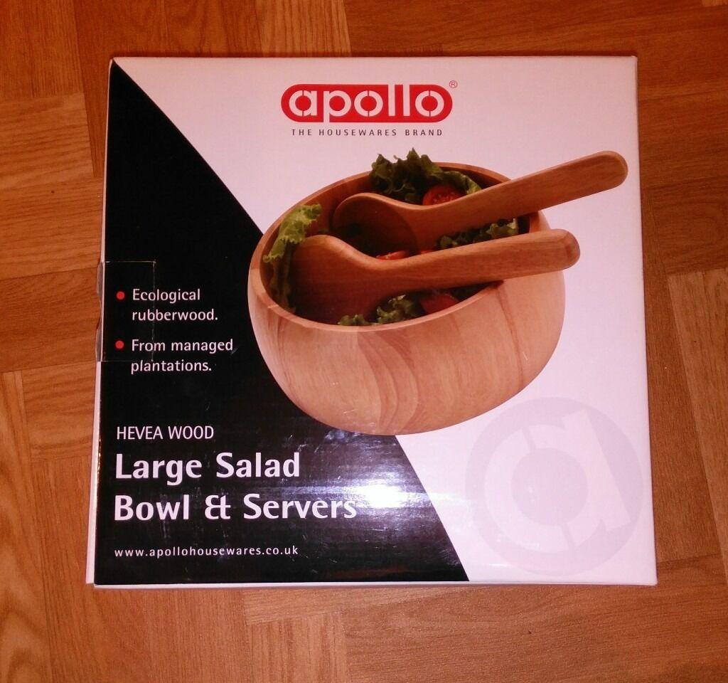 """Hevea Wood Large 10"""" Salad Bowl & Servers (brand new)"""