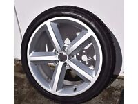 "AUDI A6 BRAND NEW ORIGINAL RONAL 18"" ALLOY WHEEL & NEW TYRE, ET43, 4FO 601 025 DC, NEVER BEEN ON CAR"