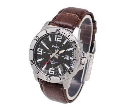 -Casio MTPVD01L-1B Men's Strap Fashion Watch Brand New & 100% Authentic