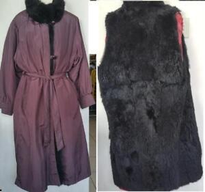 Oakville L FUR LINED COAT WINTER Warm & Dry BLACK REAL FUR Size 12-14 Roomy Large Australian Possum Purple Black Vtg
