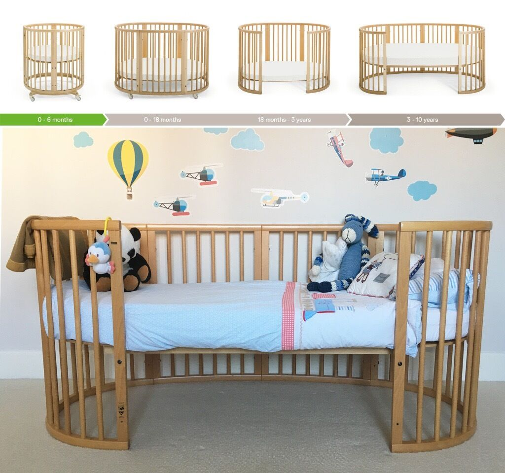 stokke sleepi 3 in 1 crib cot bed in natural beech colour stage 1 3 bedding in. Black Bedroom Furniture Sets. Home Design Ideas