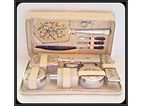 Vintage 1950's Two-Tix Luxan Hide Leather Case Vanity Travel Grooming Kit £45 ONO