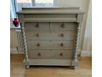 Large hand painted Victorian chest of drawers, 7 drawers, sideboard,