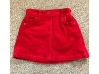 Girls Red NEXT Christmas Skirt Age 5