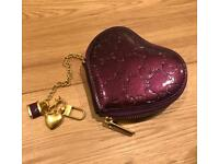 Cute heart shaped embossed coin purse. LV inspired