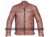 Mens Retro Vintage Light Brown Style Zipped Diamond Leather Jacket