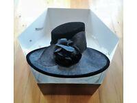 03021232e1844 NEW DESIGNER HAT RACHEL TREVOR-MORGAN ELLA Black Velvet Hessian Silk Flower  Head Wear Ascot