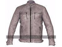 Mens Retro Vintage Grey Style Zipped Diamond Leather Jacket