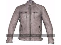 Retro Vintage Grey Style Zipped Diamond Leather Jacket