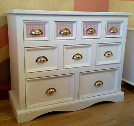 Girls 9 Drawer Chest with Gingham Cloth Inserts and Cup Handles - Solid Wood from Something Special