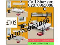 BRAND NEW TRIPLE SLEEPER METAL BUNK BED IN WHITE AND SILVER