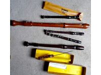 Set of five recorders—descant, soprano, alto and tenor (I think) + another curious one