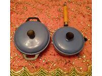 Cast Iron Saucepan & Casserole Dish with Lids:Powder Blue: Heavy Weight Kitchen Cookware:Pots & Pans