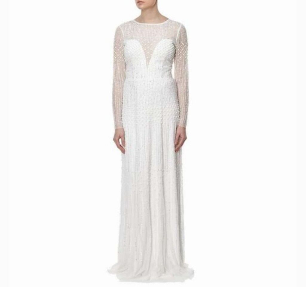 Adrianna Papell Long Sleeve Beaded Gown Size 12 | in Hartlepool ...