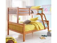 Brand NEW Solid Pine Trio Bunk Bed with Quality Mattresses