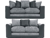 UK EXPRESS DELIVERY | DYLAN JUMBO BLK/GRY CORNER OR 3+2 SEATER SOFA | SWIVEL CHAIR | 1 YEAR WARRANTY