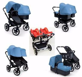 Bugaboo Donkey Twin Pram & Pushchair with Carseats & Accs - Blue