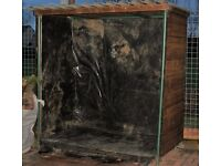 WOOD STORE LARGE HEAVY METAL FRAMED WITH FIBREGLASS ROOF, LINED, EXCELLENT CONDITION, CAN DELIVER