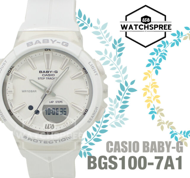 ab54bf707b6be Casio Bgs100-7a1 Baby-g Ladies White Duo Step Tracker Watch WR 10 ...