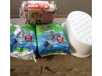 Huggies swim nappies size 3-4 (full pack of 20), plastic step, Pull ups size 6 (full pack of 20)