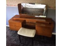 Retro 1950/60s Vintage Dressing Table with Nathan Furniture Stool