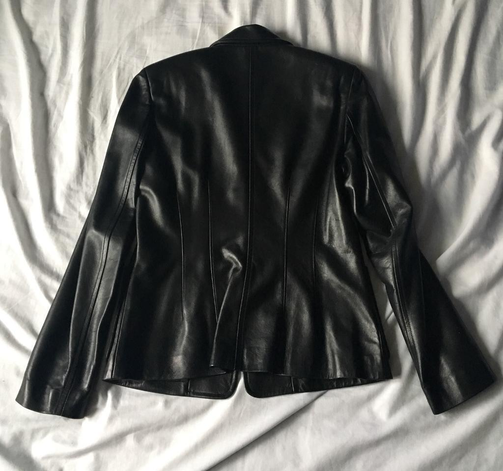 Mulberry Leather Jacket - Black- Size 14