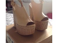 River island Nude leather heels size 6