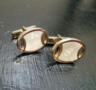 Vintage SWANK Cufflinks Faux Mother Pearl Mad Men Cuff Link Gold MCM -